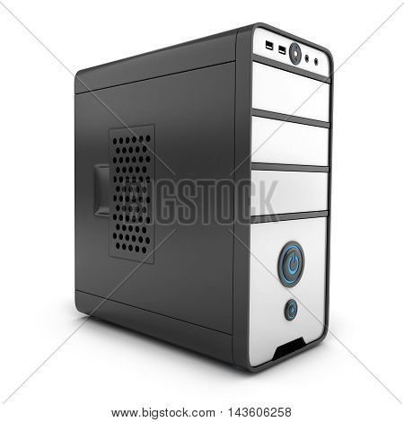 System unit only computer (done in 3d rendering)