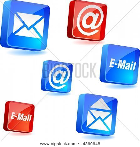 E-mail 3d icons. Vector illustration.