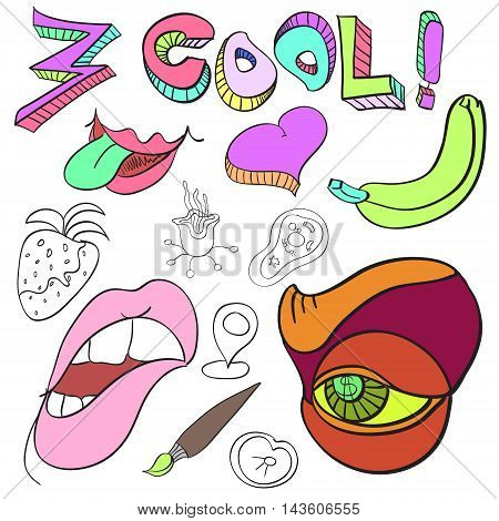 Set of funny crazy characters signs aliens imaginary cartoon bright