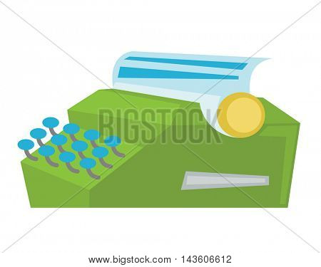 Typewriter with sheet of paper vector flat design illustration isolated on white background.