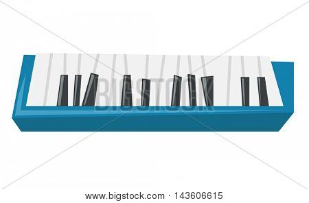 Top view of piano keyboard vector flat design illustration isolated on white background.