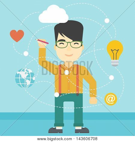 An asian man writing on a virtual screen. Businessman drawing a cloud computing diagram on a virtual screen. Cloud computing concept. Vector flat design illustration. Square layout.