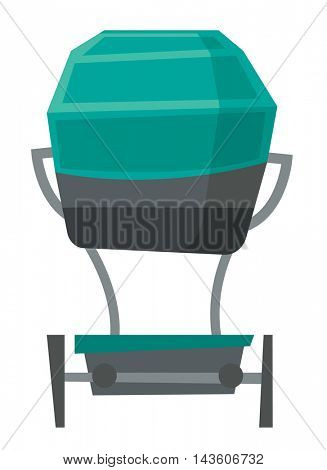 Back view of green baby carriage vector flat design illustration isolated on white background.