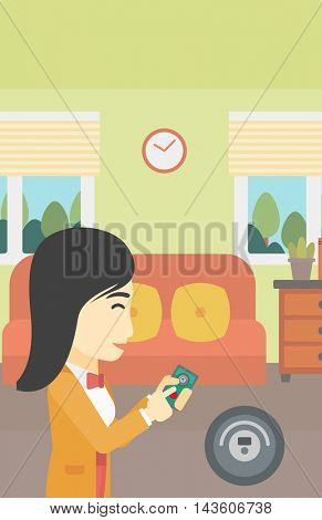 An asian woman controlling robot vacuum cleaner with smartphone. Woman holding remote control of robotic vacuum cleaner in living room. Vector flat design illustration. Vertical layout.