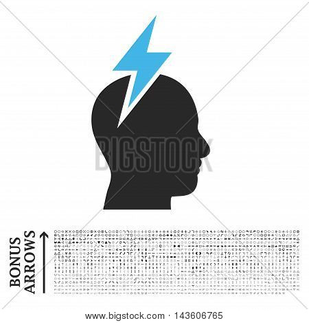 Headache icon with 1200 bonus arrow and navigation pictograms. Glyph illustration style is flat iconic bicolor symbols, blue and gray colors, white background.