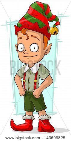 A vector illustration of cartoon redhead Christmas elf in green