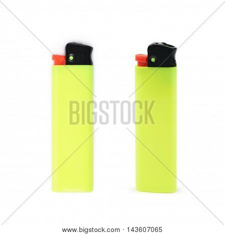 Bright yellow plastic lighter isolated over the white background, set of two different foreshortenings