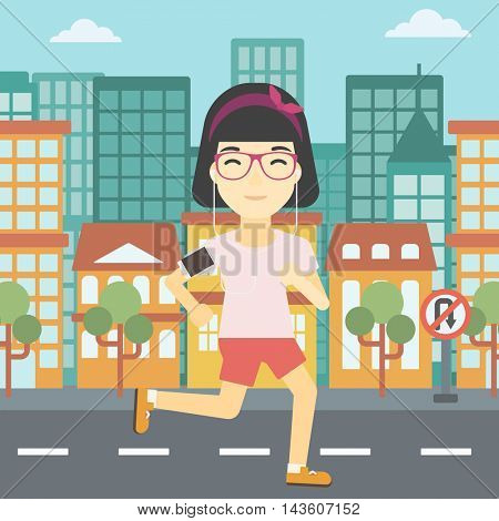 An asian woman running with earphones and armband for smartphone. Woman listening to music during running. Woman running in the city. Vector flat design illustration. Square layout.