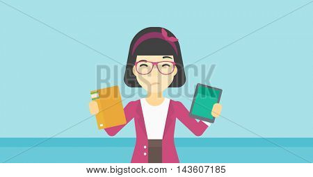 An asian woman choosing between tablet computer and paper book. Woman holding book in one hand and tablet computer in the other. Vector flat design illustration. Horizontal layout.