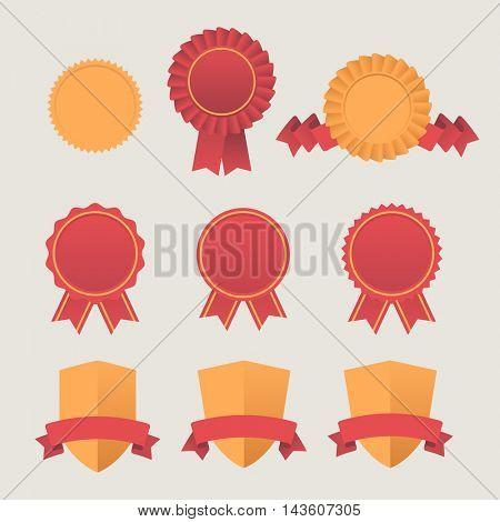Heraldic emblem shields awards with ribbons. Set of Flat ribbons awards vector graphic