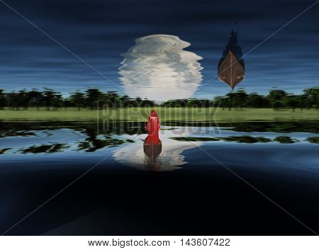 Moonrise over Lake. Figure in red cloak floating in boat. 3D Render Elements of this image furnished by NASA