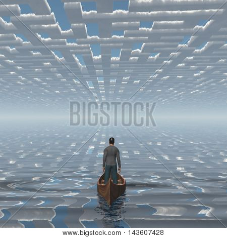 Man in boat floating under the maze of clouds 3D Render