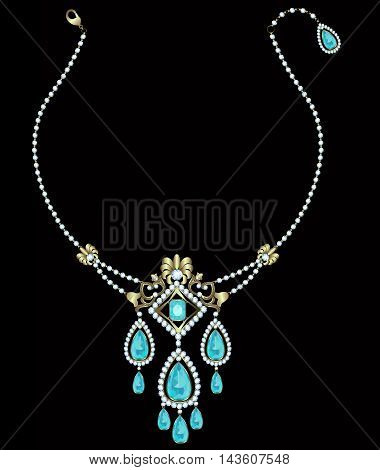 Gold necklace with diamonds and aquamarine pendants