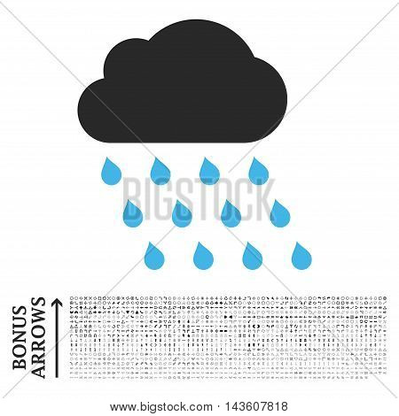 Rain Cloud icon with 1200 bonus arrow and navigation pictograms. Glyph illustration style is flat iconic bicolor symbols, blue and gray colors, white background.