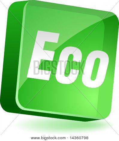 Eco 3d icon. Vector illustration.