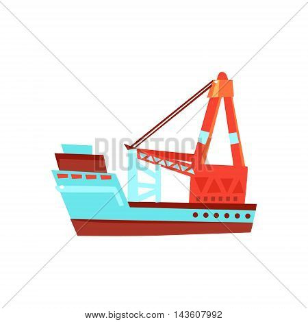 Cargo Ship Toy Boat Bright Color Icon In Simple Childish Style Isolated On White Background