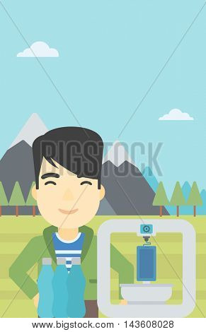 An asian young man standing near 3D printer on the background of mountains. Three D printer making a smartphone using recycled plastic bottles. Vector flat design illustration. Vertical layout.