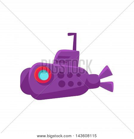 Purple Submarine Toy Boat Bright Color Icon In Simple Childish Style Isolated On White Background