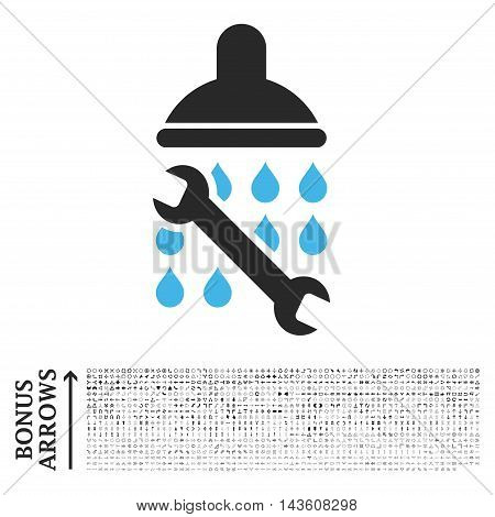 Shower Plumbing icon with 1200 bonus arrow and direction pictograms. Glyph illustration style is flat iconic bicolor symbols, blue and gray colors, white background.