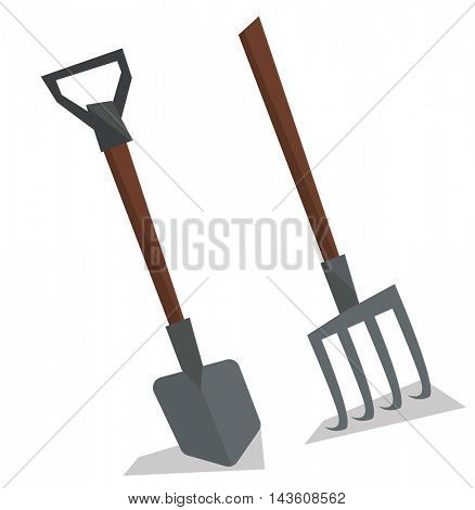 Agricultural shovel and pitchfork vector flat design illustration isolated on white background.
