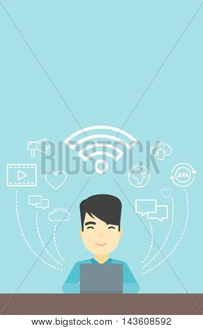 An asian man working on a laptop and social computer network icons above him. Vector flat design illustration. Vertical layout.
