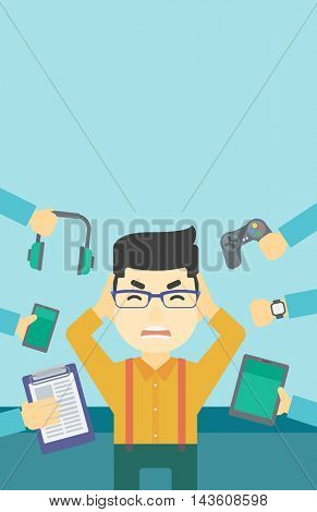 An asian man in despair and many hands with gadgets around him. Young man surrounded with gadgets. Man using many electronic gadgets. Vector flat design illustration. Vertical layout.