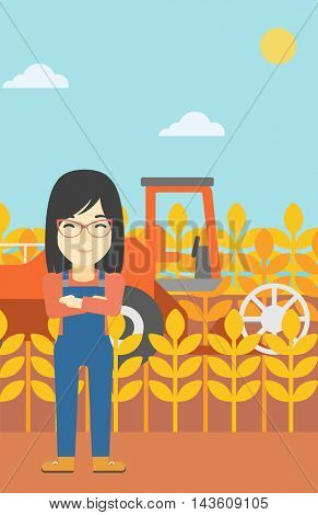 An asian female farmer standing on the background of combine harvesting wheat. Young farmer working on a wheat field. Vector flat design illustration. Vertical layout.