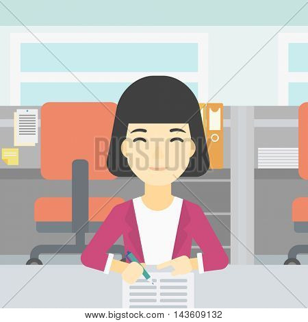 An asian young woman signing business documents in office. Woman is about to sign a business agrement. Confirmation of business transaction. Vector flat design illustration. Square layout.