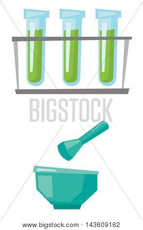 Laboratory equipment - test tubes, mortar and pestle vector flat design illustration isolated on white background.