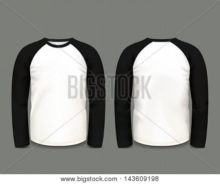 Men's black raglan sweatshirt long sleeve in front and back views. Vector template. Fully editable handmade mesh. EPS 10