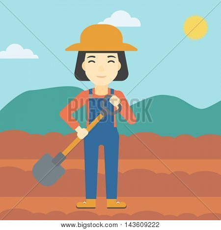 An asian female farmer with shovel on the background of plowed agricultural field. Friendly farmer with spade in field. Vector flat design illustration. Square layout.