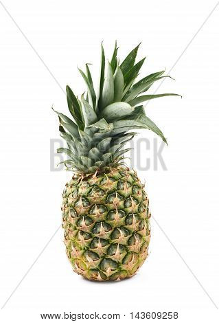 Ripe pineapple fruit isolated over the white background