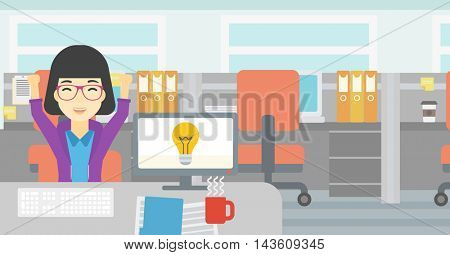 An asian business woman with arms up having business idea. Woman working on a computer with business idea bulb on a screen. Business idea concept. Vector flat design illustration. Horizontal layout.