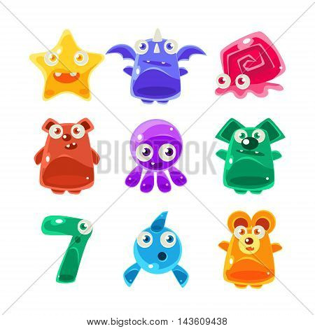 Cute Jelly Creatures Set Of Bright Glossy Drawings In Fantastic Childish Style Isolated On White Background