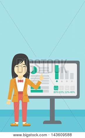 An asian  young business woman pointing at charts on a board during business presentation. Business woman giving a business presentation. Vector flat design illustration. Vertical layout.