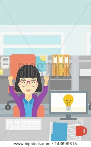An asian business woman with arms up having business idea. Woman working on a computer with business idea bulb on a screen. Business idea concept. Vector flat design illustration. Vertical layout.
