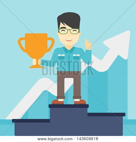 An asian businessman standing on a pedestal with winner cup. Businessman celebrating his business award. Business award concept. Vector flat design illustration. Square layout.