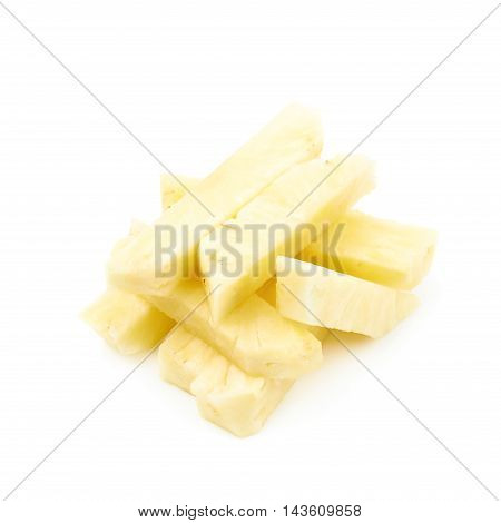 Pile of pineapple flesh bits isolated over the white background
