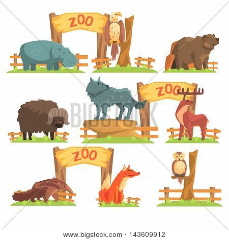 Wild Animals Behind The Fence In Zoo Set. Colorful Illustration With Outdoors Zoo In Vector Funky Stylized Design