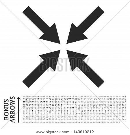 Center Arrows icon with 1200 bonus arrow and navigation pictograms. Glyph illustration style is flat iconic symbols, gray color, white background.