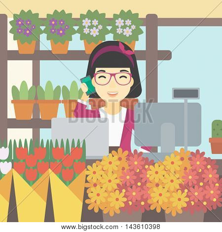An asian female florist using telephone and laptop to take orders for flower shop. An excited florist standing behind the counter at flower shop. Vector flat design illustration. Square layout.