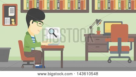 An asian young businessman working on laptop in office and a magnifying glass coming out from screen. Concept of search. Vector flat design illustration. Horizontal layout.