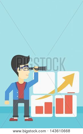 Businessman looking through a spyglass at chart. Man searching the opportunities for business growth. Business vision concept. Business vector flat design illustration. Vertical layout.
