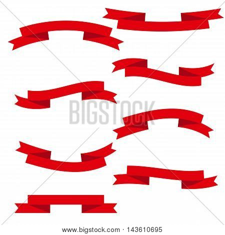 Vector ribbons, banners, streamers set in red colour
