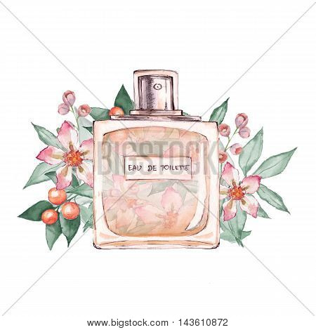 Bottle of perfume and flowers 2. Ink and watercolor sketch 5. Isolated on white background