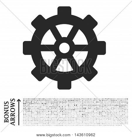 Gear icon with 1200 bonus arrow and navigation pictograms. Glyph illustration style is flat iconic symbols, gray color, white background.