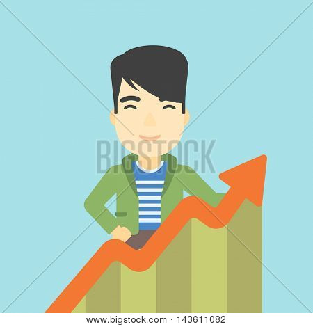 An asian young happy businessman standing behind growing chart on a blue background. Successful business concept. Vector flat design illustration. Square layout.
