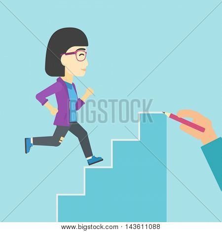 An asian  young business woman running up the stairs drawn by hand with pencile. Concept of business career. Vector flat design illustration. Square layout.