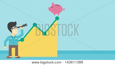 An asian  young businessman looking through spyglass at a piggy bank standing at the top of growth graph. Vector flat design illustration. Horizontal layout.