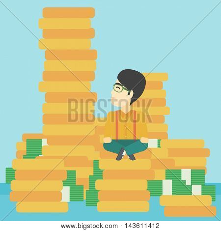An asian  young businessman sitting on stack of gold coins and looking up to the biggest one. Successful business concept. Vector flat design illustration. Square layout.
